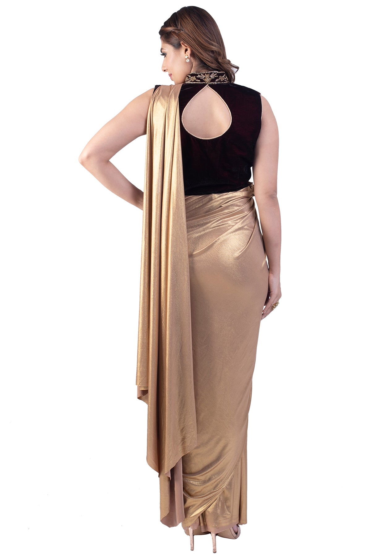 Golden Pre-Stitched Saree With Velvet Embroidered Blouse