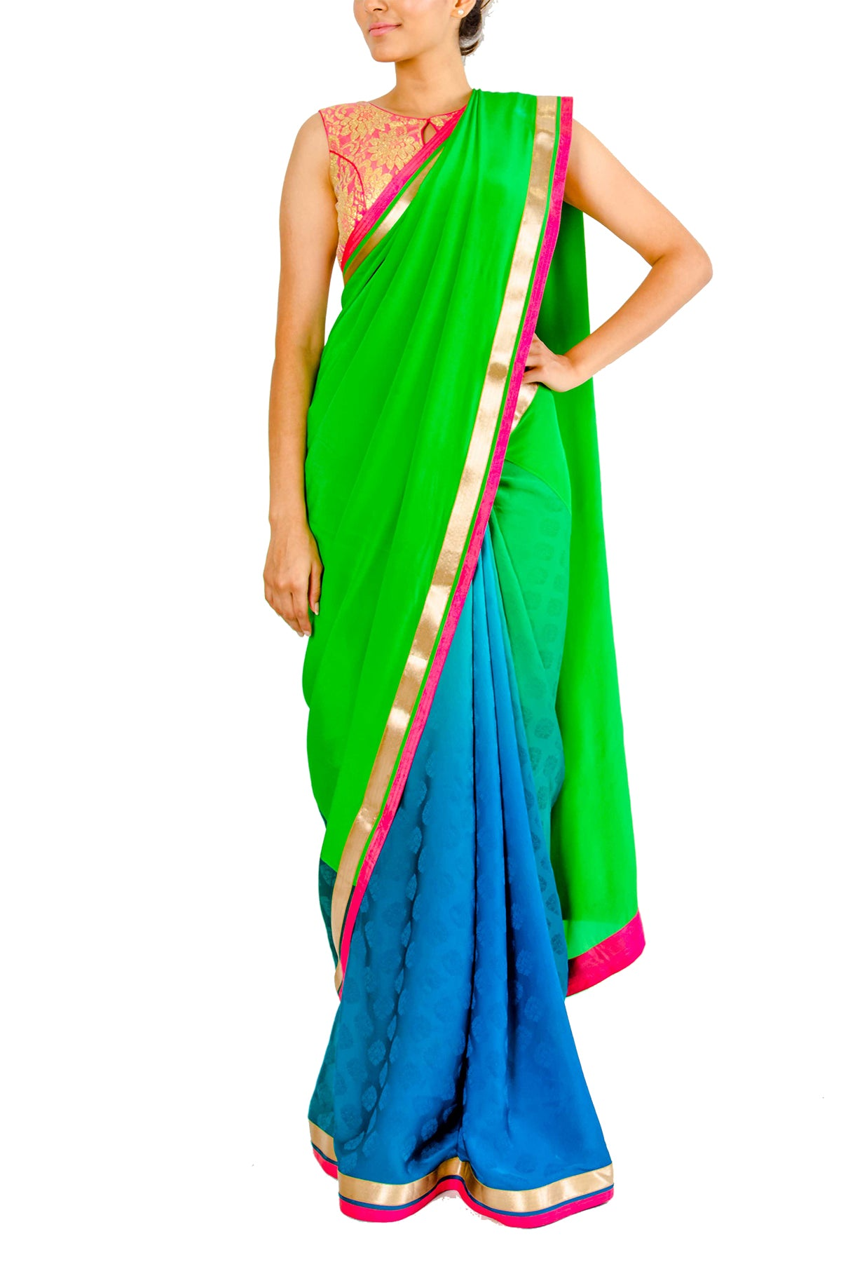 Sitting on the fashion fence about what to wear to your next ordeal? Get your hands on this blue & green half & half shaded saree with a parrot green crepe silk pallu and textured crepe silk flare. Please note that the blouse and petticoat are not included.