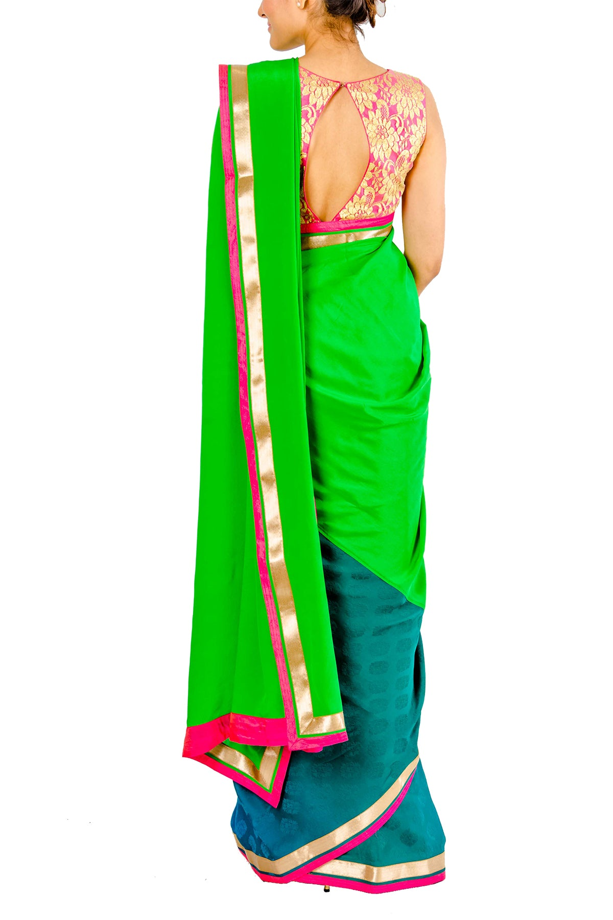 Green And Blue Shaded Half And Half Saree