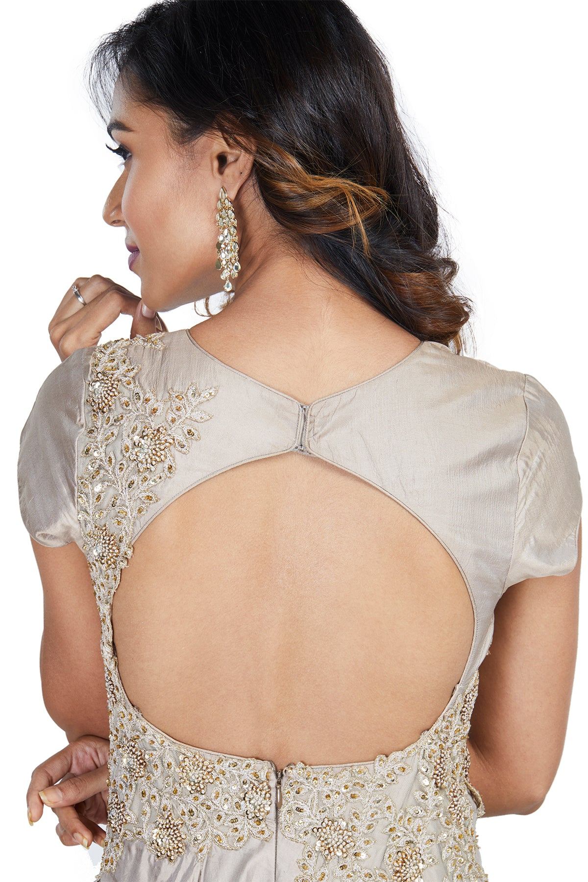 Grey Asymmetrically Embroidered Gown