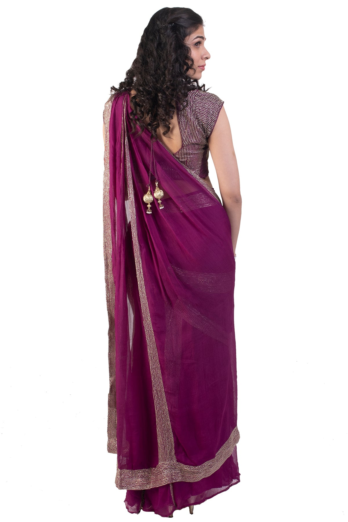 Purple Cocktail Saree