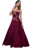 Rage through the night with this strapless maroon gown in satin silk with pita and zardosi work.