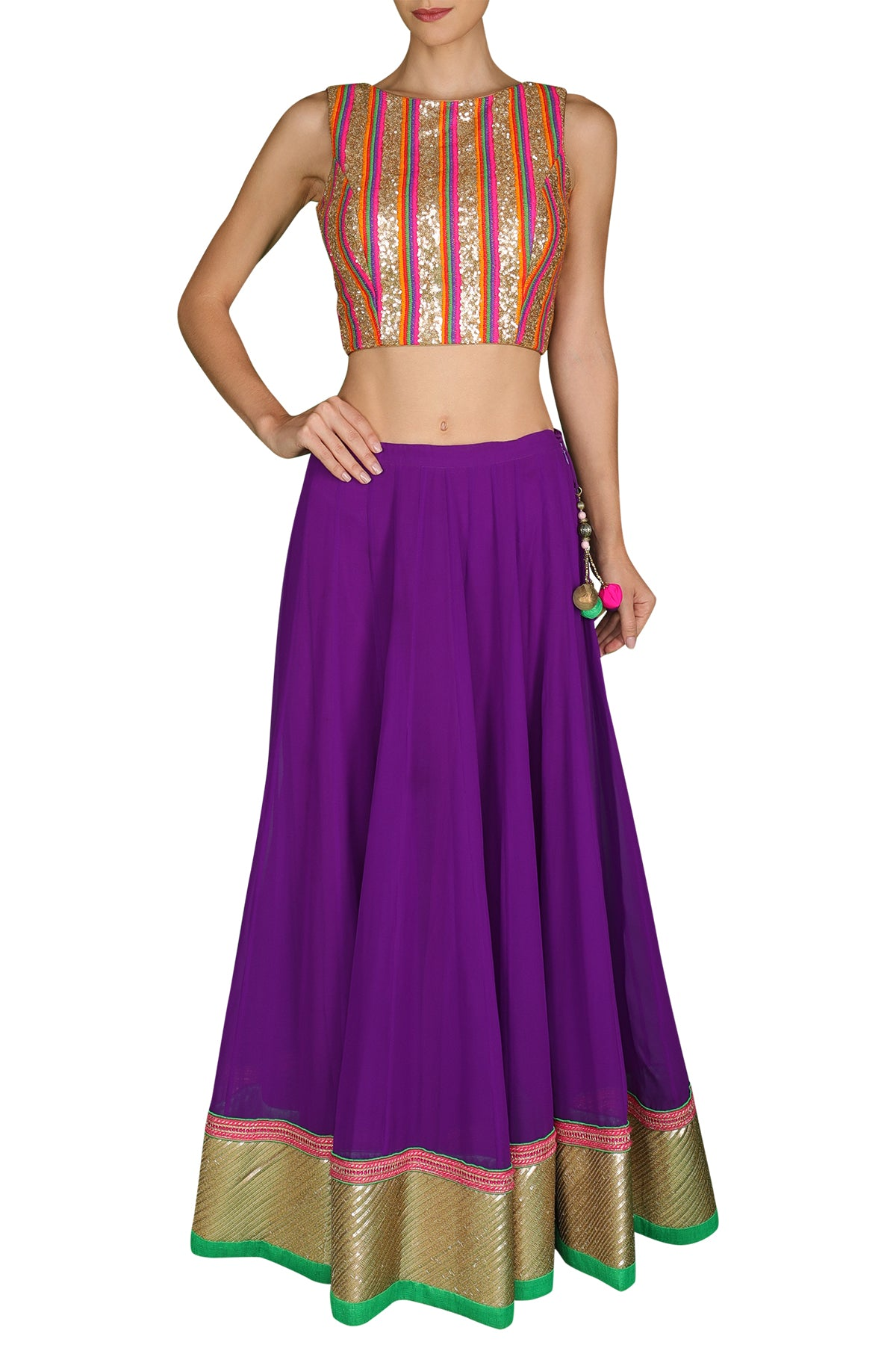 Multi-Colored Blouse with Purple Lehenga and Dupatta