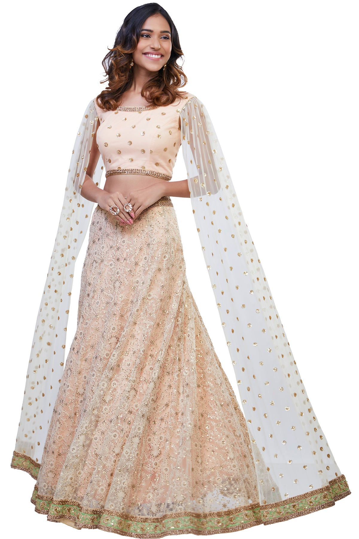 Peach and Off White Cape Sleeves Lehenga