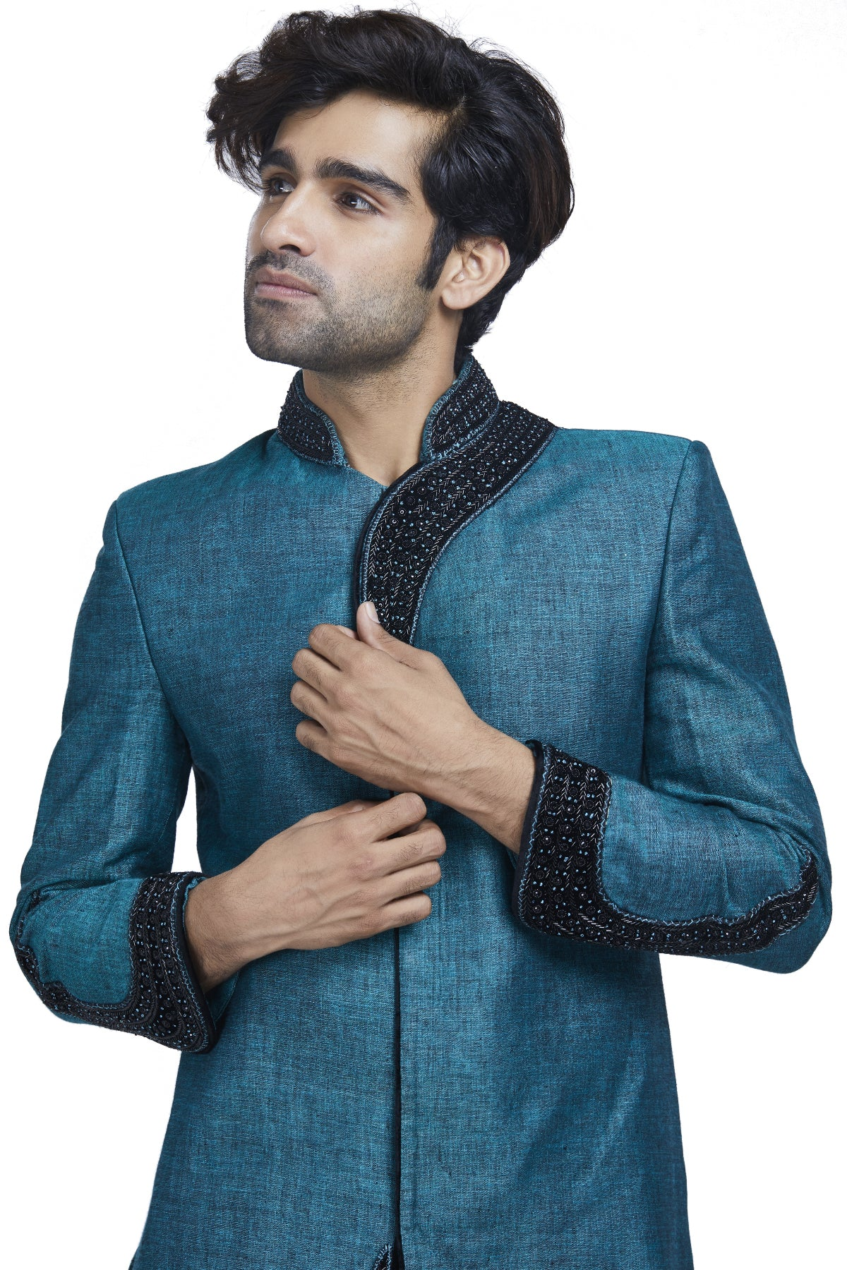 Peacock Blue And Black Sherwani Set