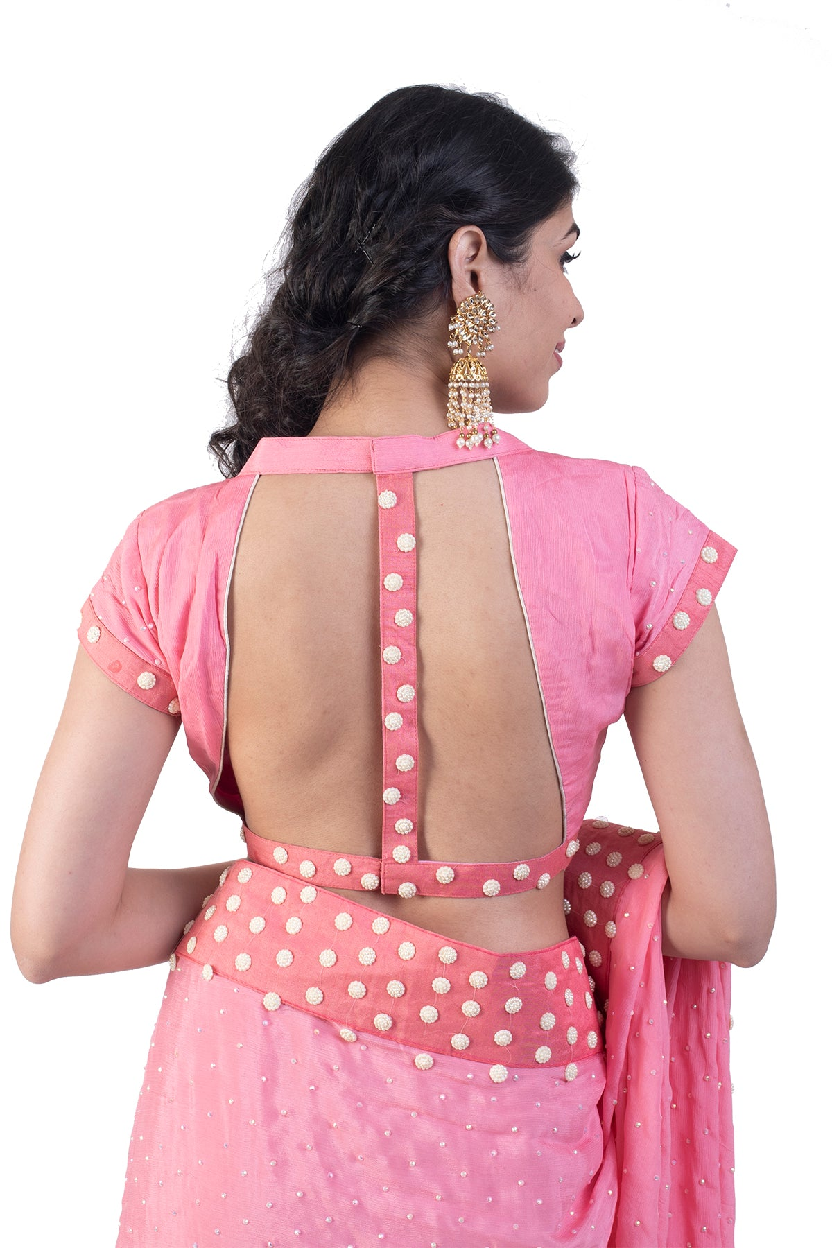 Pink Saree With Pearl Embroidered border