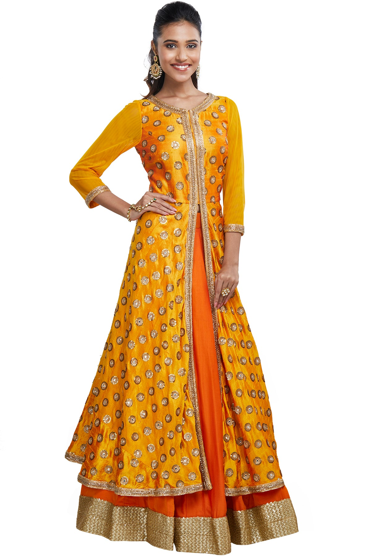 Look lush for life in this stunning combination of an embroidered saffron anarkali front-slit top over an orange skirt with a stark gold border.
