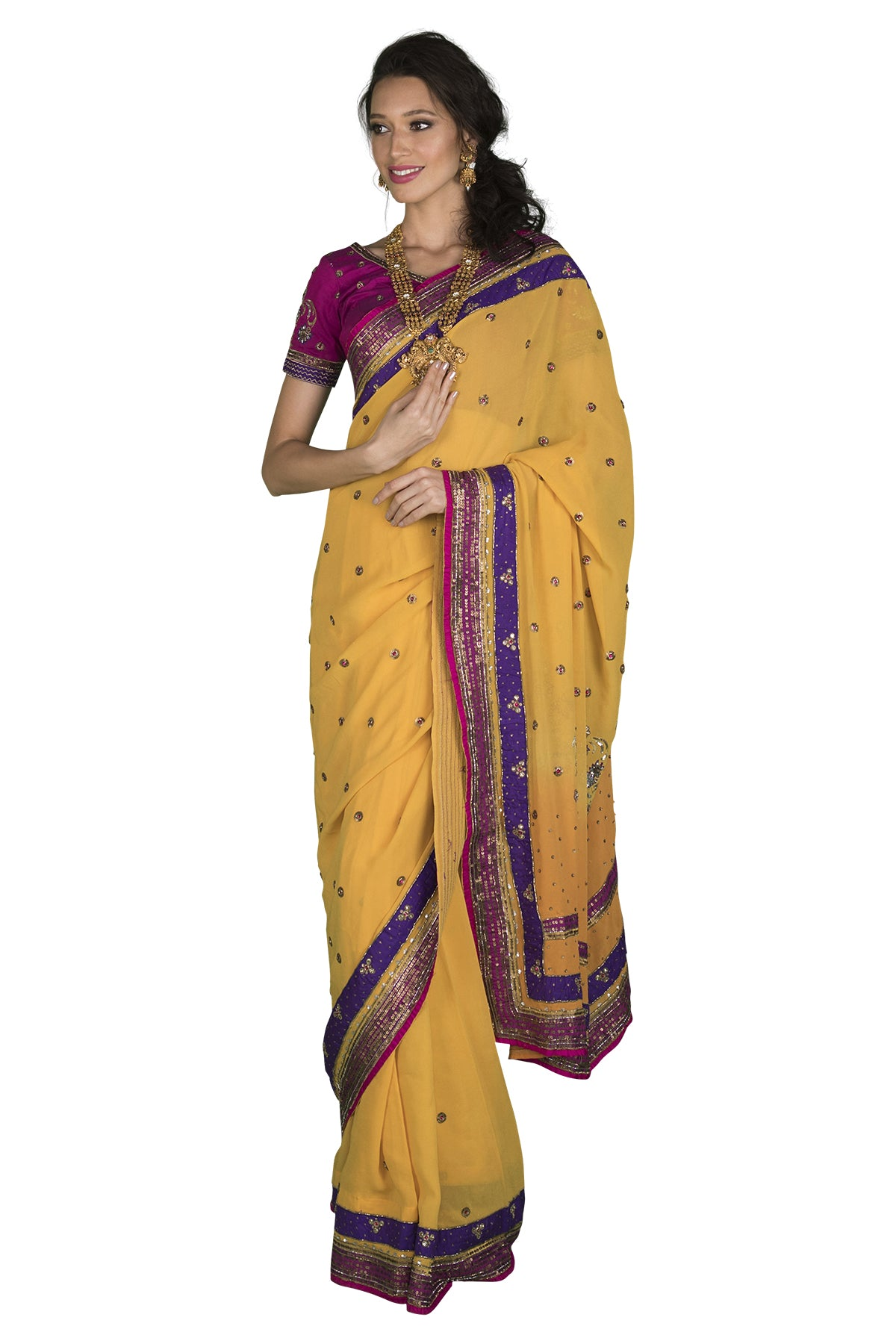 Emanate sunshine in this saffron yellow saree with pink and purple sequin borders and decorated with motifs all over. Please note that the blouse and petticoat are not included.