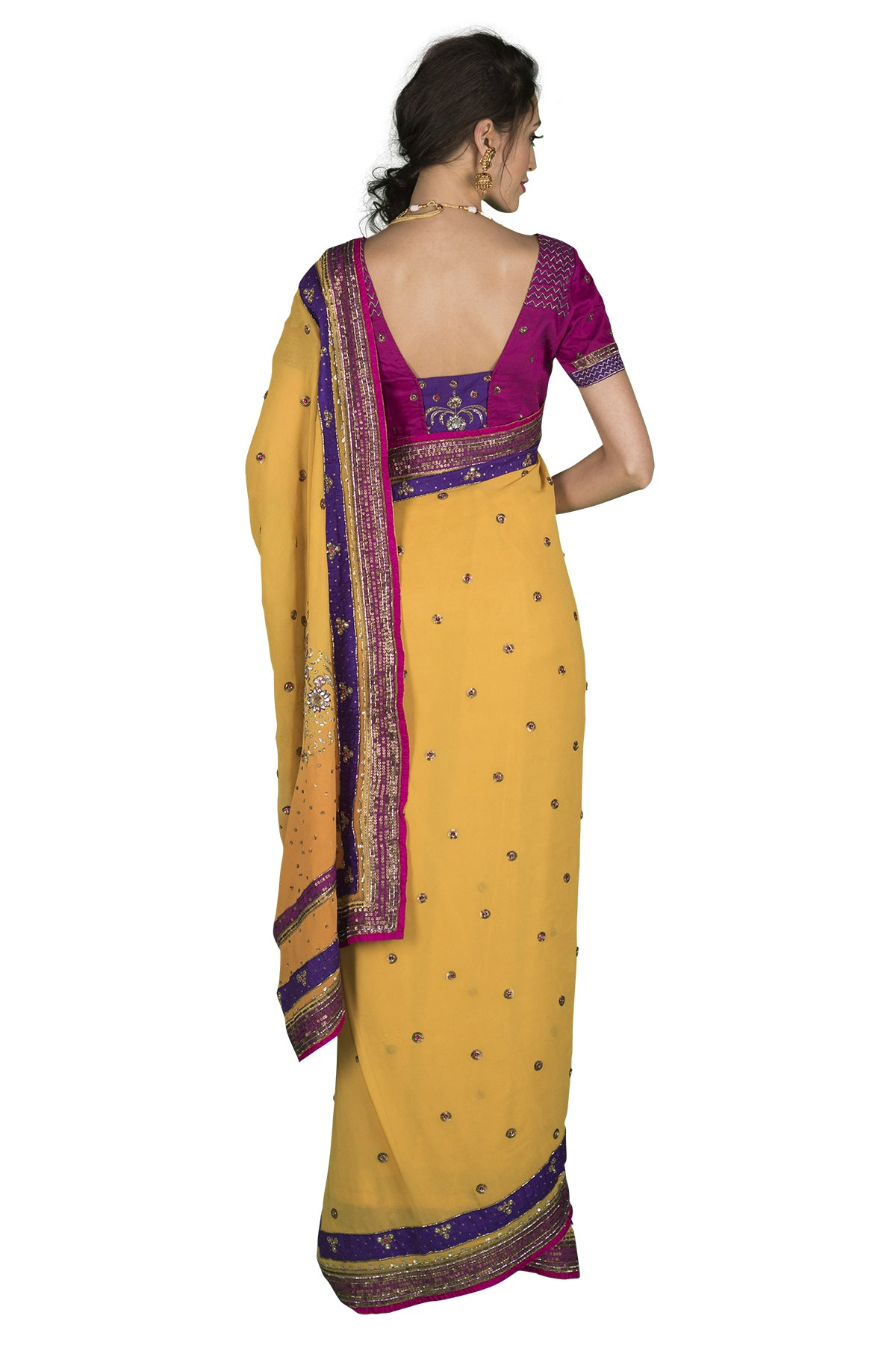 Turmeric, Pink And Purple Saree