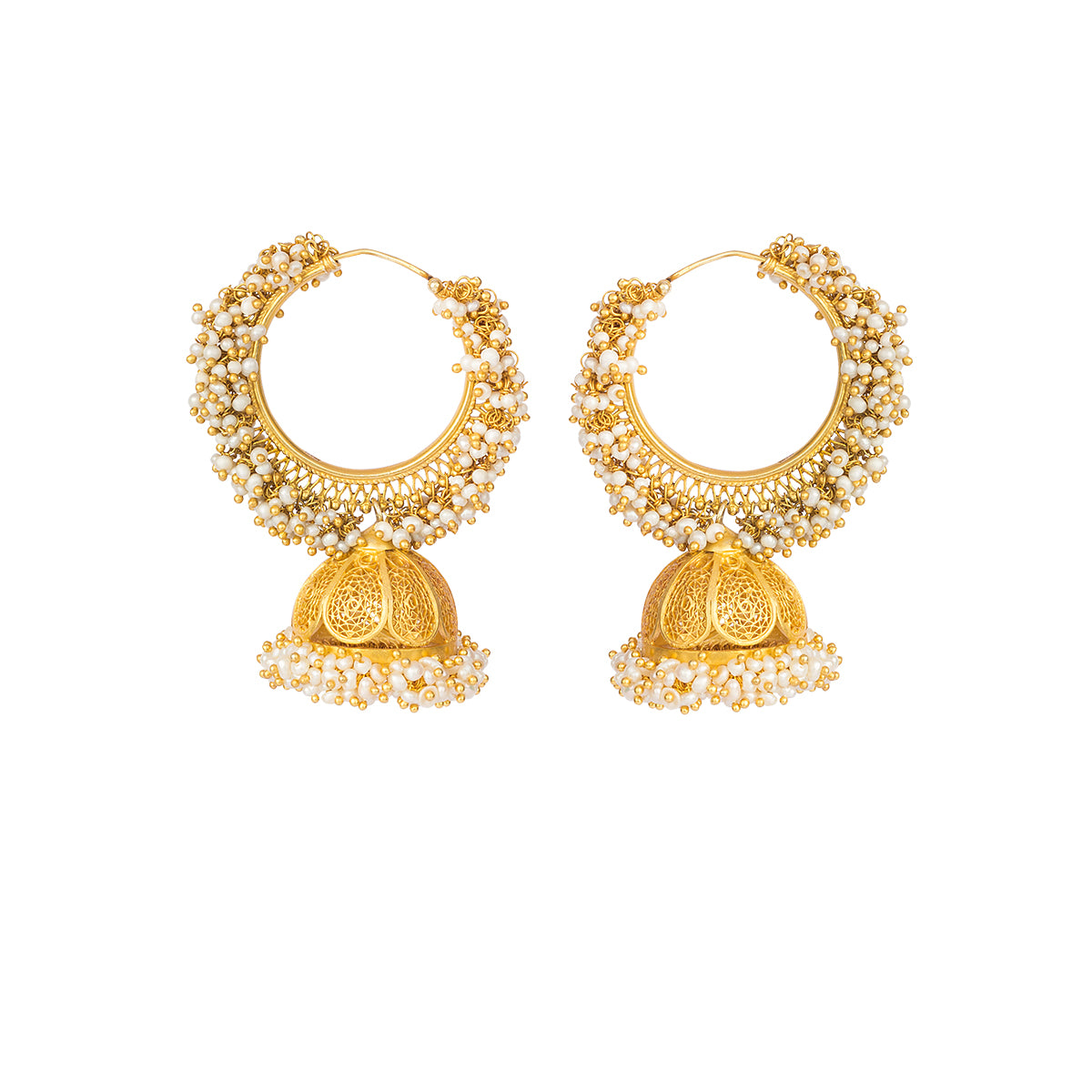 Saved for a special occassion and sealed with love, these gold-plates silver earrings are decorated with pearls in a hoop & jhumka design. They remind us of the golden days and eternal love!