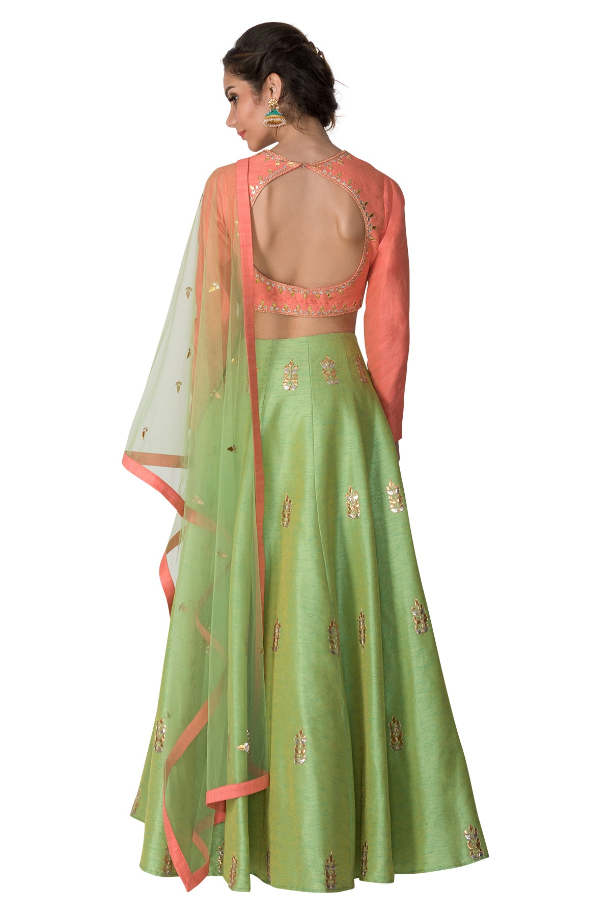 Peach blouse with green skirt and Dupatta
