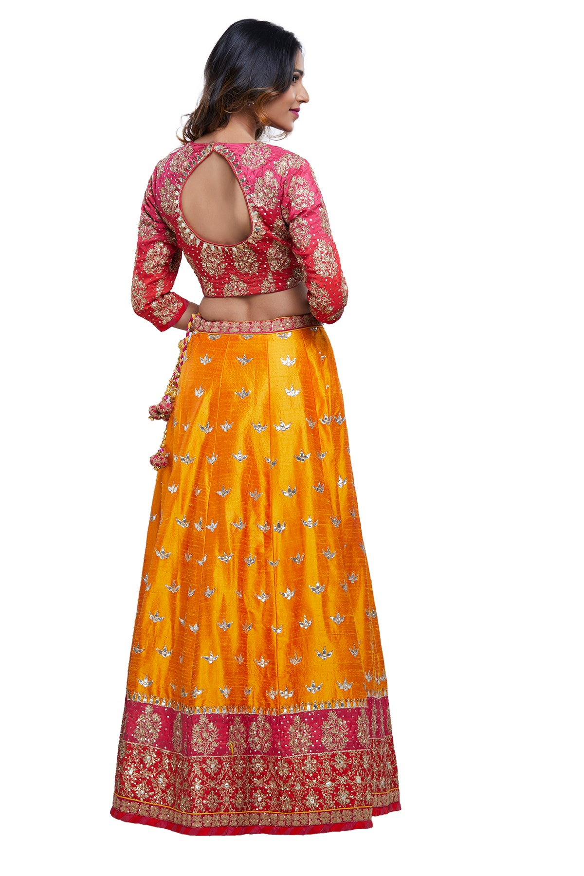 Pink and Saffron Lehenga Set
