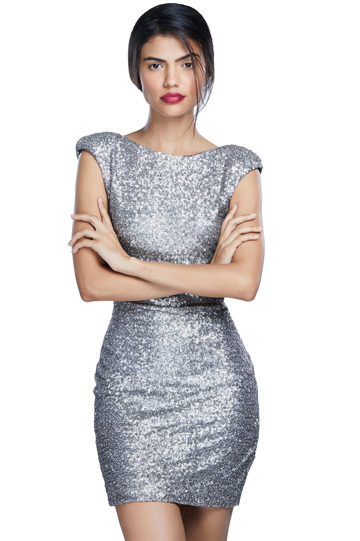 Cause we get bitter without that glitter! Dive into the midst of glitz in this complete sequined figure-hugging dress with cap sleeves.