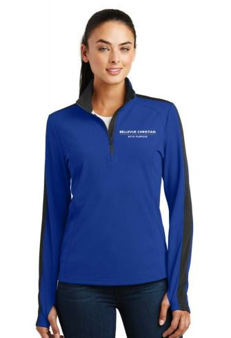 BCS WITH PURPOSE LADIES COLORBLOCK 1/4 ZIP PULLOVER