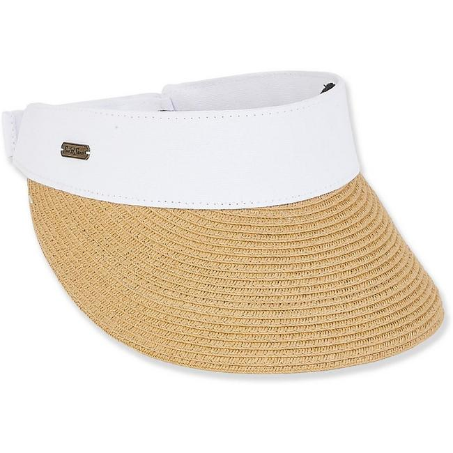 "the-ladies-pro-shop-2,Sun N Sand PAPER BRAID VISOR BRIM 3.5""-Available White or Black Trim,Sun N Sand,Hats"