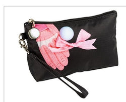 the-ladies-pro-shop-2,Sydney Love Golf Cosmetic Bag with Wristlet-Glove with Pink Ribbon,Sydney Love,Purses