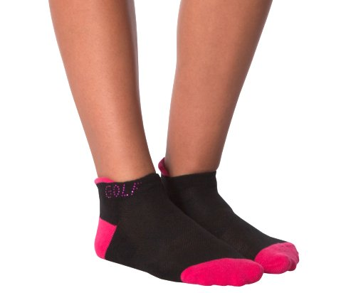 the-ladies-pro-shop-2,KBell Rhinestone GOLF Pink and Black Footies,KBell,Socks
