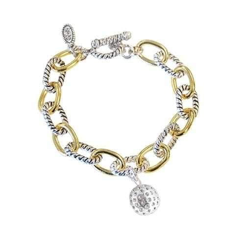 Bracelets,Navika,Navika Silvertone Golf Ball Two Tone Chain Bracelet,the-ladies-pro-shop-2,ladiesproshop,ladiesgolf,golfclothes,ladiesgolfclothes,cutegolfclothes,womensgolfclothes,ladiesgolfclothing,womensgolfclothing