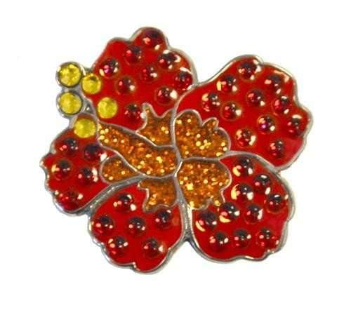 Navika Red Hibiscus Sparkly Ballmarker and clip set - the-ladies-pro-shop-2