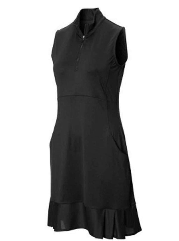 EP Pro Sleeveless Mesh Pleated Hem Mock Neck Dress-Black