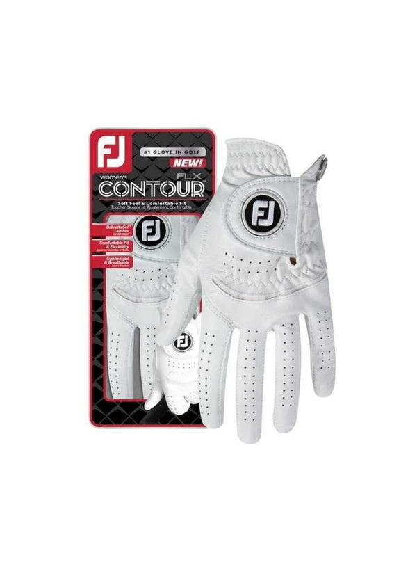 Contour FLX Leather Golf Glove- White