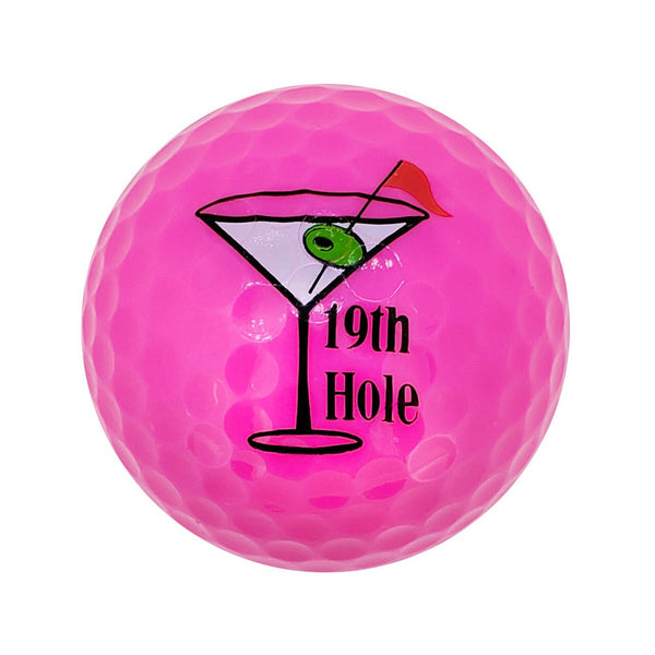 Navika Assorted 19th Hole Printed Pink Golf Balls-3 pack