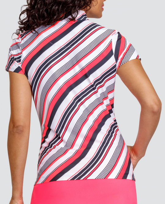 Tail Activewear Wavy Print Short Sleeved Print Top-Peach/Black