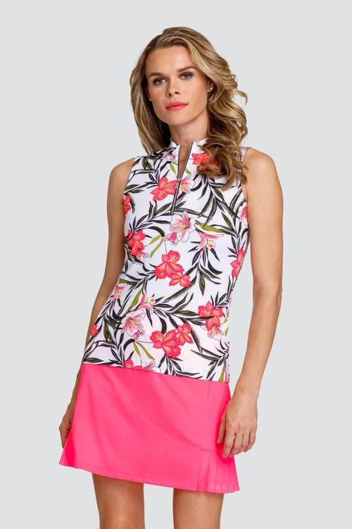 Tail Activewear Black, Peach, and White Floral Print Sleeveless Shirt