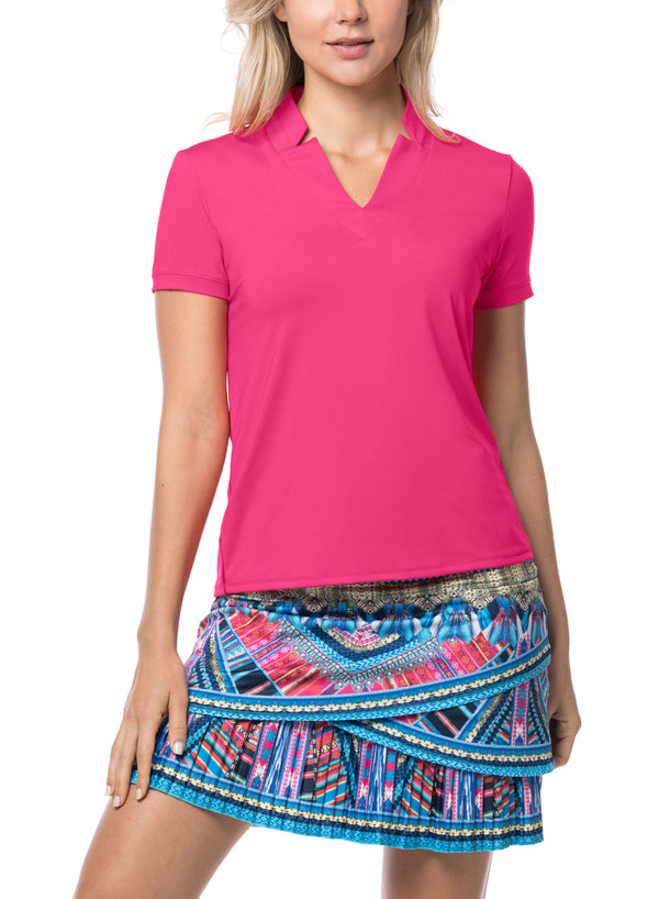 the-ladies-pro-shop-2,Lucky in Love V-Neck Short Sleeved Polo- 3 Colors,Lucky in Love,Shirts