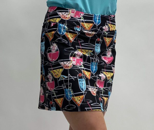 "Bskinz Women's Knit Printed Stretch 18"" Pull-On Skort-NEW Cheers Black"