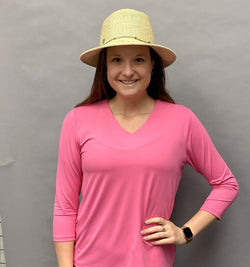 Shirts,Lulu-B,Lulu B Women's V-Neck 3/4 Sleeved Shirt - Periwinkle,  Blue, Pink, Coral,the-ladies-pro-shop-2,ladiesproshop,ladiesgolf,golfclothes,ladiesgolfclothes,cutegolfclothes,womensgolfclothes,ladiesgolfclothing,womensgolfclothing