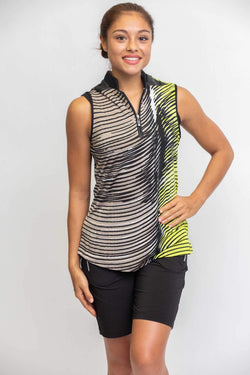 Shirts,Jamie Sadock,Jamie Sadock Bali Women's Yellow Wave Print Sleeveless Shirt-Bali Collection,the-ladies-pro-shop-2,ladiesproshop,ladiesgolf,golfclothes,ladiesgolfclothes,cutegolfclothes,womensgolfclothes,ladiesgolfclothing,womensgolfclothing