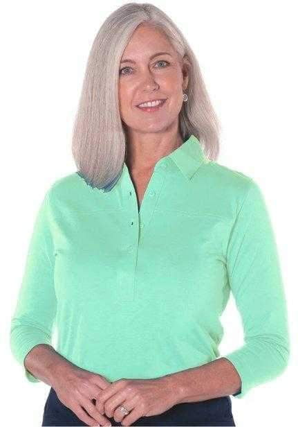 Shirts,Leon Levin,Leon Levin 3/4 Sleeve Classic Polo,the-ladies-pro-shop-2,ladiesproshop,ladiesgolf,golfclothes,ladiesgolfclothes,cutegolfclothes,womensgolfclothes,ladiesgolfclothing,womensgolfclothing
