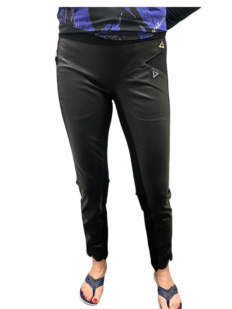 Jamie Sadock Basic Skinnylicious Traveluxe Ankle Pants-Black Faux Leather