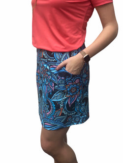 "Bskinz Women's Knit Printed Stretch 20"" Pull-On Skort-Sapphire"