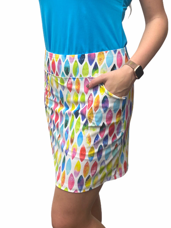 "Bskinz Women's Knit Printed Stretch 20"" Pull-On Skort-Gumdrops"