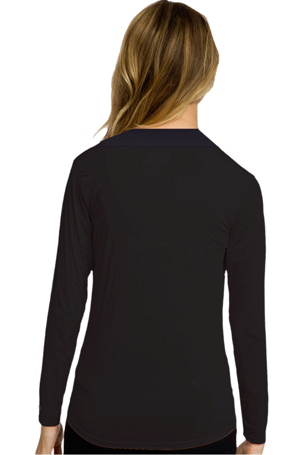Jamie Sadock Sunsense Basic Women's UV-Sun Protection Long Sleeve Mock Neck Sun Shirt-Basics Black or White***