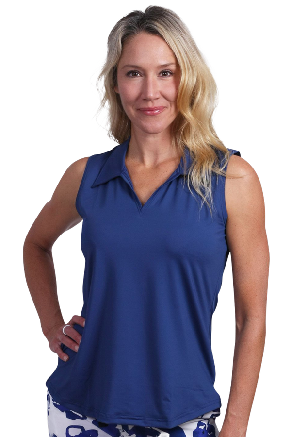 "Ana Clare ""Clare"" Sleeveless Solid Shirt- Navy & White"