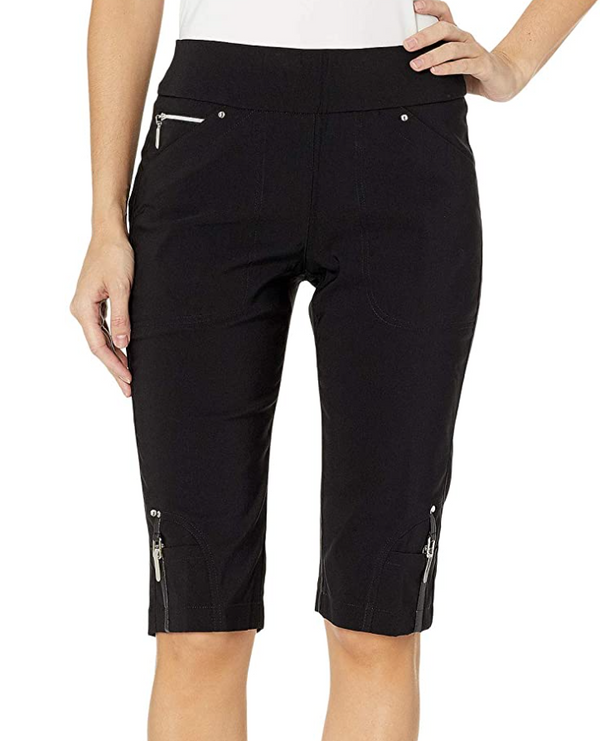 "Jamie Sadock Basic Skinnylicious Women's Pull On Stretch 24"" Knee Shorts-Black, White, Navy, Grey***"
