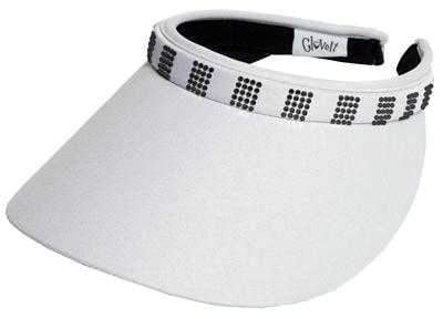 "Glove It ""Bling"" Solid Collection Large Brim Clip on Visor with Square Black Crystals"