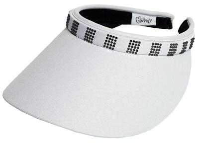 "Hats,Glove It,Glove It ""Bling"" Solid Collection Large 4"" Brim Clip on Visor with Square Black Crystals,the-ladies-pro-shop-2,ladiesproshop"