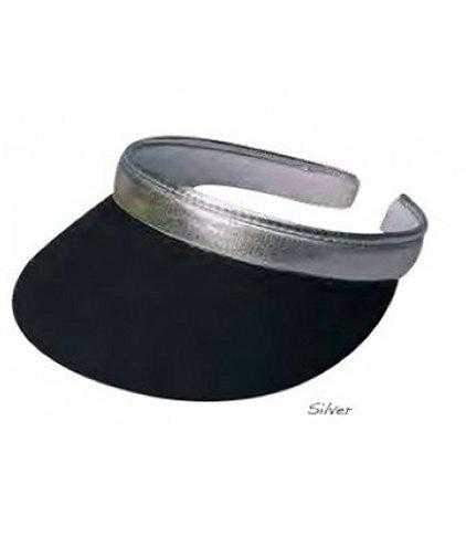 "Dorfman Visor- 3"" Brim Clip On Visor-Black with Silver Trim or Black With Gold Trim 