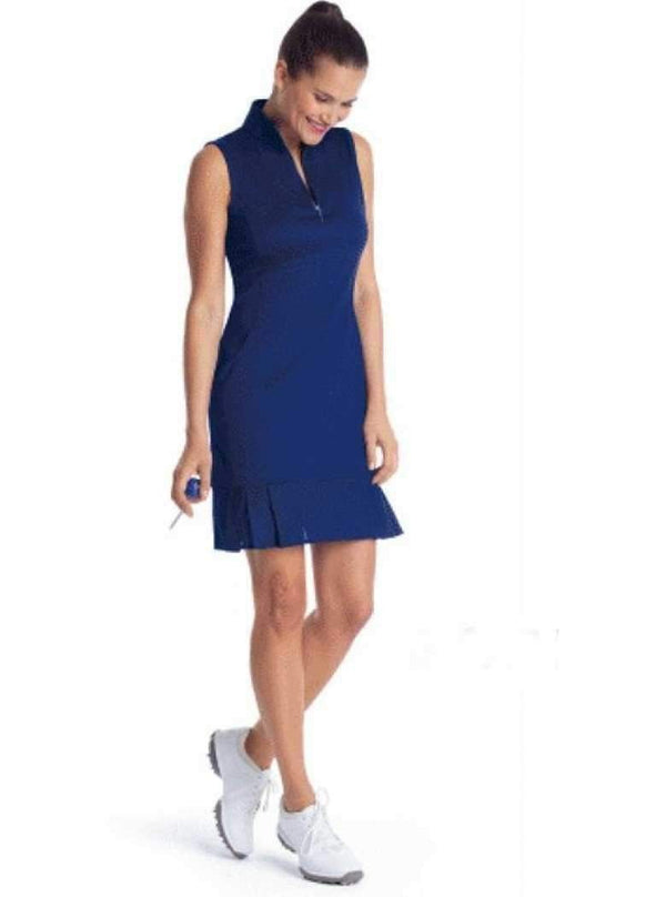 EP Pro Sleeveless Mesh Pleated Hem Mock Neck Dress-Navy