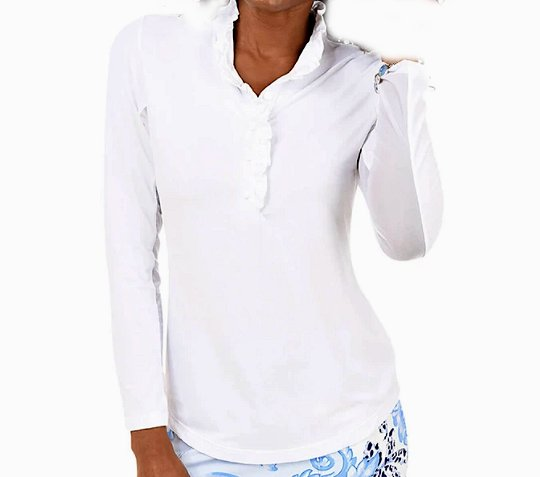 Gottex Solid Long Sleeve Sun Shirt -Solid White Ruffle