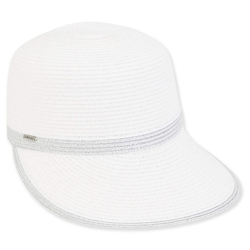 the-ladies-pro-shop-2,Sun N Sand Ella Paper Braid Backless Adjustable Cap-White/Silver,Sun N Sand,Hats