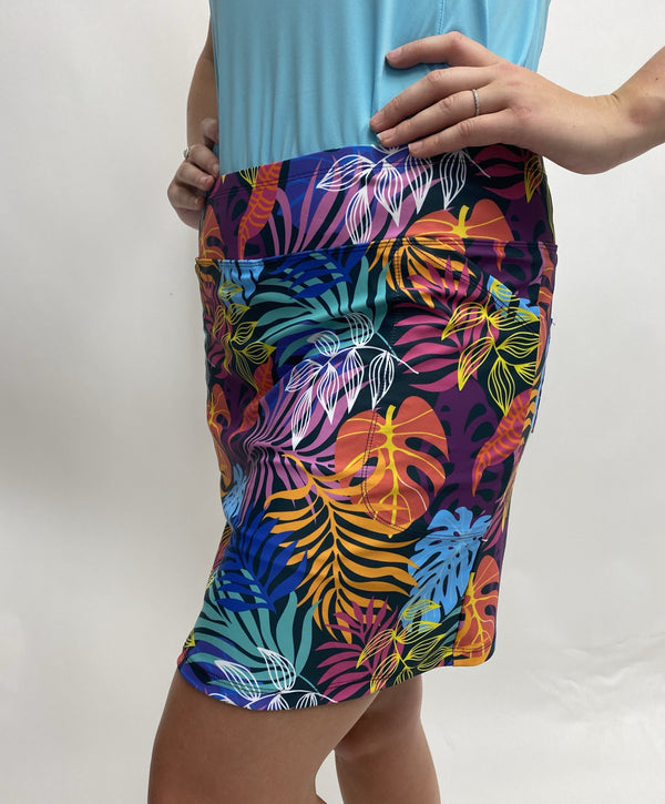 "Bskinz Women's Knit Printed Stretch 20"" Pull-On Skort- NEW Palm Leaves"