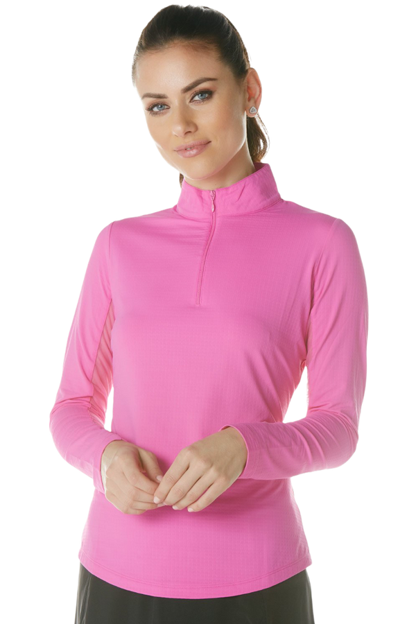 IBKUL Women's Long Sleeved Solid Mock Neck Golf Sun Protection Shirt- 11 Colors!