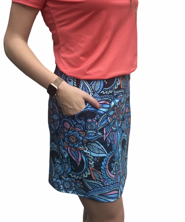 "Bskinz Women's Knit Printed Stretch 18"" Pull-On Skort-Sapphire"