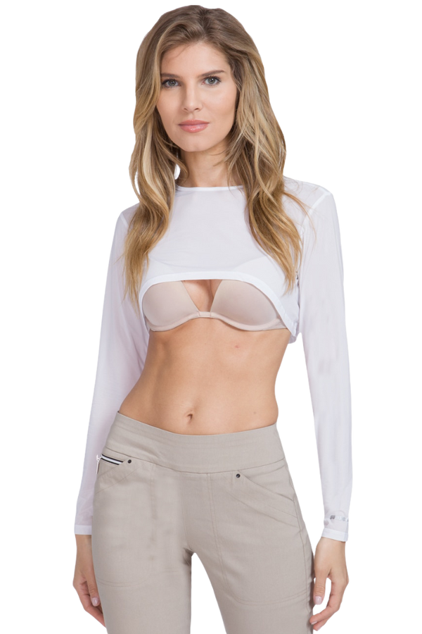 Jamie Sadock Sunsense Basic Women's UV-Sun Protection Long Sleeved Scoop Neck Cropped Sun Shirt-White