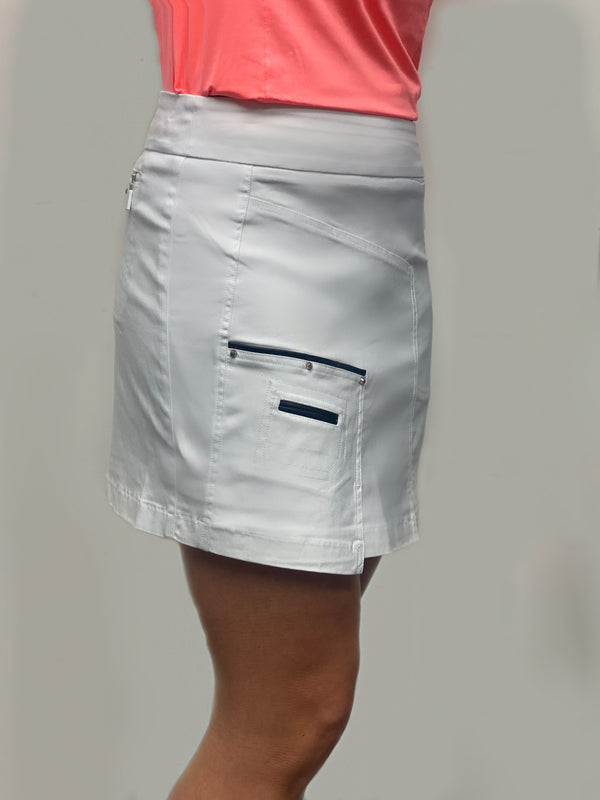 "Skort,Jamie Sadock,Jamie Sadock Basic Women's Skinnylicious Pull on 17.5"" Skort - White,the-ladies-pro-shop-2,ladiesproshop,ladiesgolf,golfclothes,ladiesgolfclothes,cutegolfclothes,womensgolfclothes,ladiesgolfclothing,womensgolfclothing"